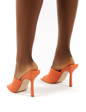 Zavia Orange Square Toe Mules Sandal Heels