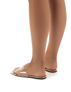 Harmony Rose Gold and Perspex Flat Sandals