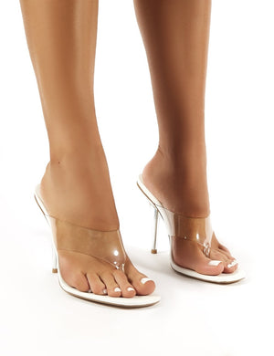 Shade White Perspex Toe Post Heeled Mules