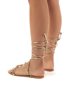 Sunset Gold Strappy Lace Up Flat Sandals