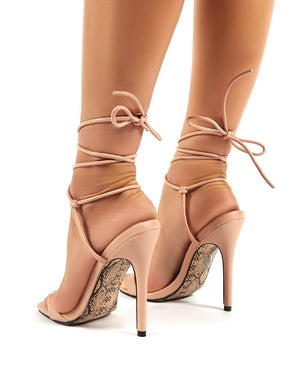 Chic Nude Lace Up Snakeskin Sole Stiletto Heels