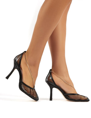 Anabela Black Fishnet Chain Detail Square Toe Stiletto High Heels