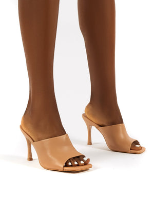 Emili Nude Wide Fit Pu Heeled Mules
