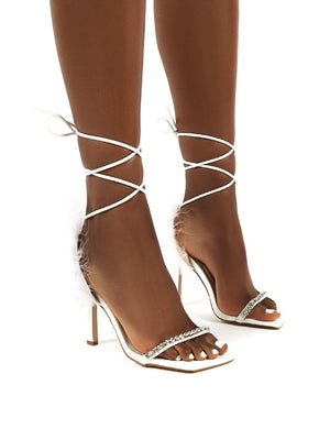 Fifi White Feather Lace Up Ankle Square Toe Stiletto Heels