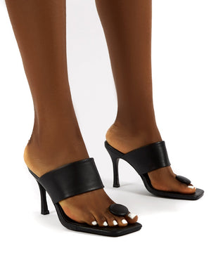 Forgiven Black Toe Post Square Toe Wide Strap Mule Heels