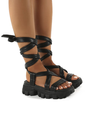 Friction Black PU Chunky Sole Lace Up Sandals