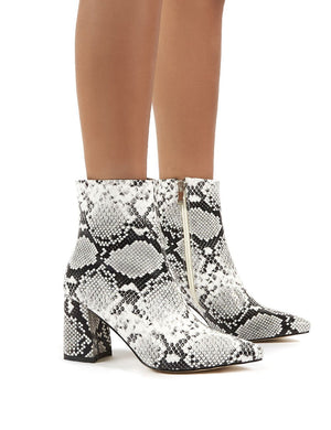 Grizzly White Snake Block Heeled Ankle Boots