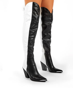 Honor Mono Western Block Heeled Knee High Boots