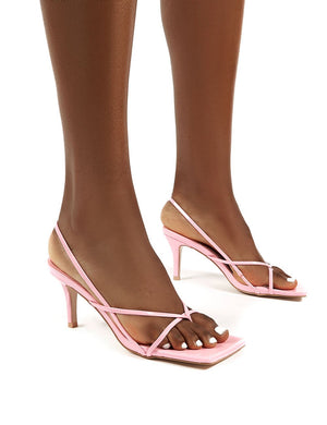 Mika Pink Strappy Mid Height Kitten Heels