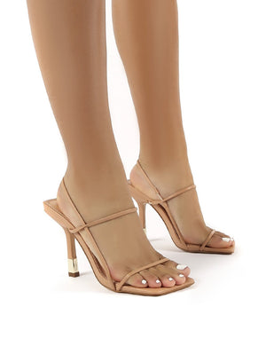 Rayelle Nude Square Toe Strappy Gold Heels