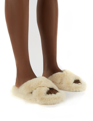 Snuggles Cream Fluffy Faux Fur Slippers