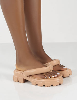 State Nude Chunky Sole Thong Strap Sandals