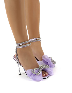 Sugarcoat Lilac Wrap Around Diamante Bow Square Toe Heels