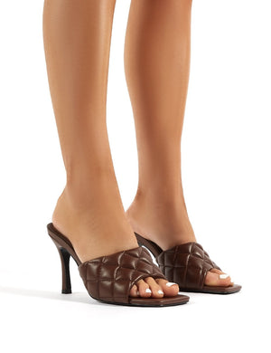 Bossy Chocolate PU Quilted Heeled Mules