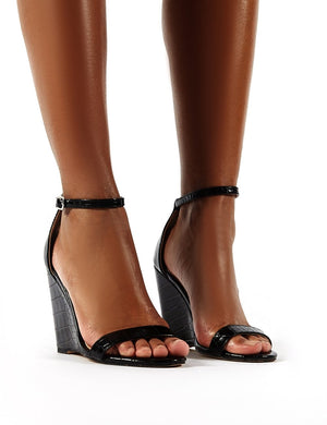 Nova Black Croc Barely There Wedge Heels