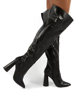Hometown Wide Fit Black Croc Over The Knee Heeled Boots