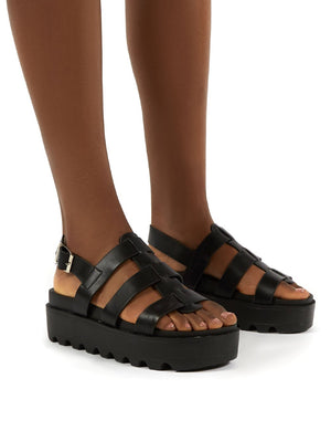 Coco Black Pu Triple Strap Gladiator Platform Sandals