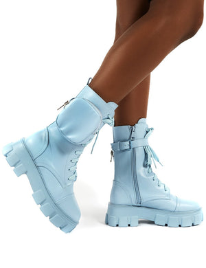 Intention Blue Chunky Sole Pouch Ankle Boots
