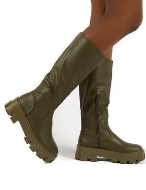 Karma Khaki Chunky Sole Knee High Boot