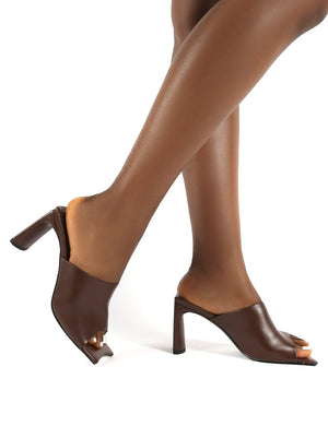 Vice PU Chocolate Square Toe Block Heel Mules
