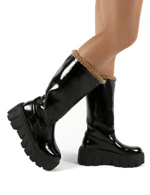 Wynter Black Shearling Lined Knee High Ankle Boots