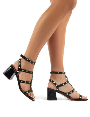 Always Wide Fit Black Studded Strappy Block Heels