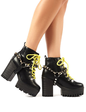 Bribe Black Lace Up Cleated Platform Chunky Heeled Ankle Boots