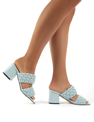 Chelsee Blue PU Block Heeled Mules
