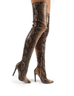 Kimana Tan Snakeskin Heeled Over the Knee Boots