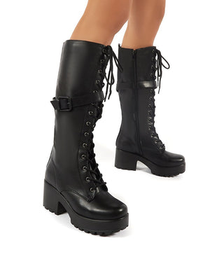 Melody Black Lace Up Chunky Heeled Knee High Boots