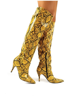 Nicole Yellow Snakeskin Slouch Knee High Boots