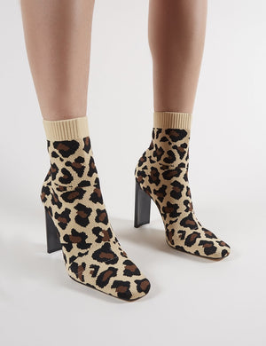 Pioneer Sock Fit Knitted Ankle Boots in Leopard Print