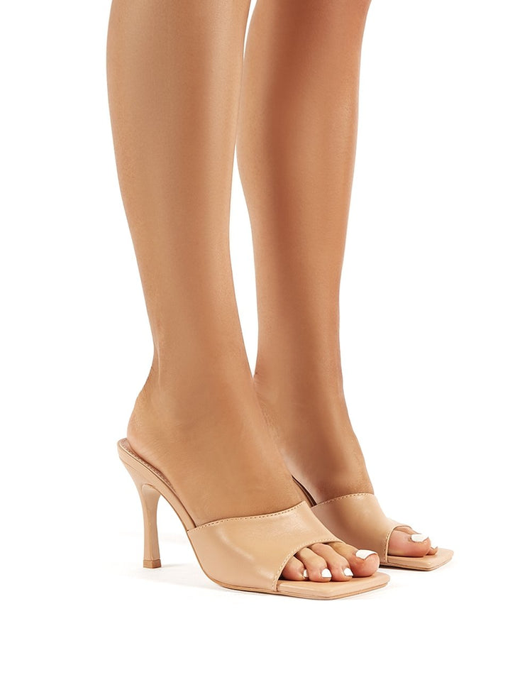 Desiree Nude Feather Lace Up Stiletto Heels | Public