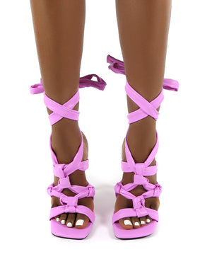 Convo Lilac Wide Fit Neoprene Knotted Lace Up Stiletto High Heels