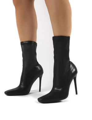 Everything Black PU Square Toe Sock Fit Stiletto Heeled Ankle Boot