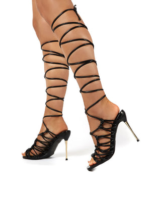 Joyful Black Lace Up Knot Front heels