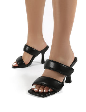 Kora Black Velcro Double Strap Square Toe Heeled Mules