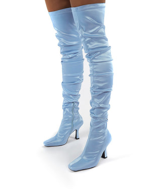 Outlaw Blue Ruched Over The Knee Heeled Boots