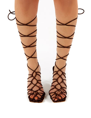 Rulebreaker Choc Lace Up Stiletto High Heels