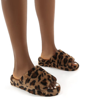 Snoozie Leopard Faux Fur Chunky Platform Sole Sliders