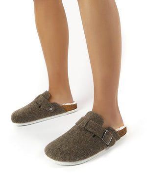 Winona Beige Faux Fur Lined Clog Slippers