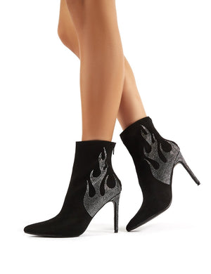 On Fire Black Suede Diamante Flame Heeled Ankle Boots