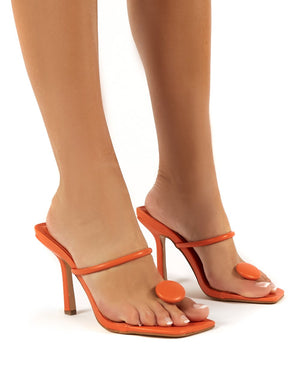 Kai Orange Toe Post Square Toe Mule Heels