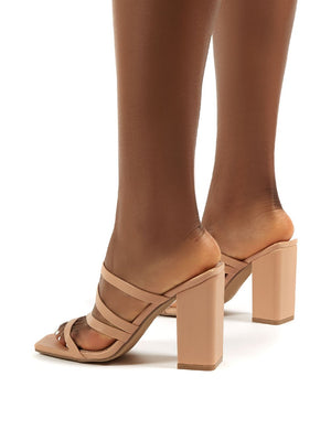Kalia Nude Wide Fit Strappy Block Heel