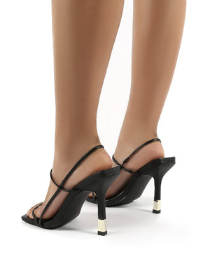 Rayelle Black Square Toe Strappy Gold Heels