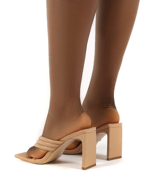 Resort Nude PU Thong Strap Flat Block Heeled Mules