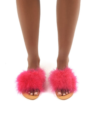 Bubbly Pink Feather Slider Flat Sandals