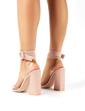Commit Nude Snakeskin Flared Block Heels
