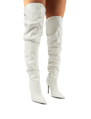 Impulse White PU Slouch Stiletto Heeled Over the Knee Boots