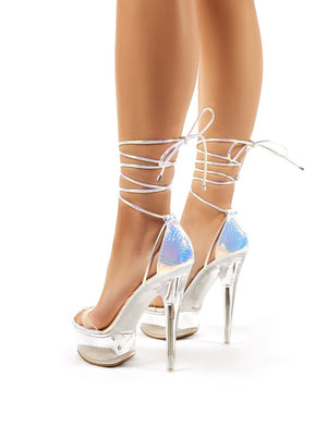 Show Off Iridescent Lace Up Perspex Platform Stiletto High Heels